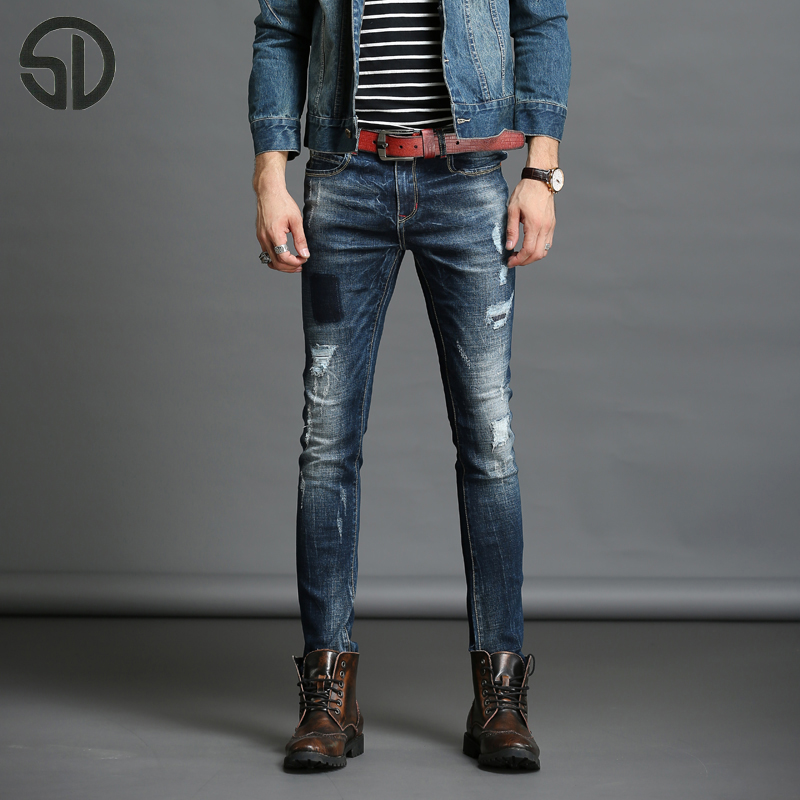 Ripped Skinny Jeans Men Stretch Hole Jean Cool Jean Slim Blue Color Trousers Casual Hip Hop Pants Elastic Denim motorcycle jeans patch jeans men slim skinny denim blue jeans ripped trousers famous brand dsel jeans elastic pants star mens stretch jeans w701