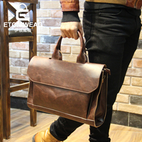 ETONWEAG New 2017 Men Famous Brands Cow Leather Brown Cover Business Style Briefcases Vintage Laptop Shoulder