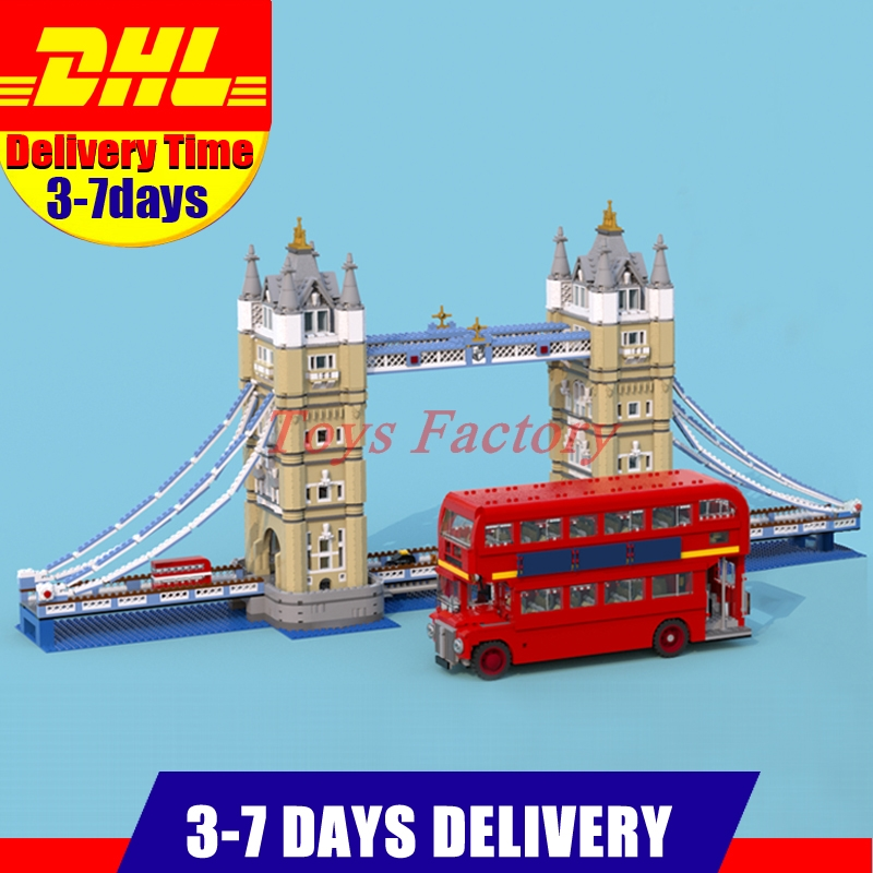 2018 DHL LEPIN 17004 4295 PCS London Tower Bridge+21045 The London Bus Set Building Blocks Fit For 10258 10214 lepin 21045 united kingdom britain london double decker bus building kit blocks bricks toy for gift 10258