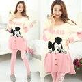 Mickey Mouse Negro rosa pijamas de Gran Tamaño Las Mujeres Embarazadas en Otoño e Invierno Pijamas Pijamas de las mujeres embarazadas