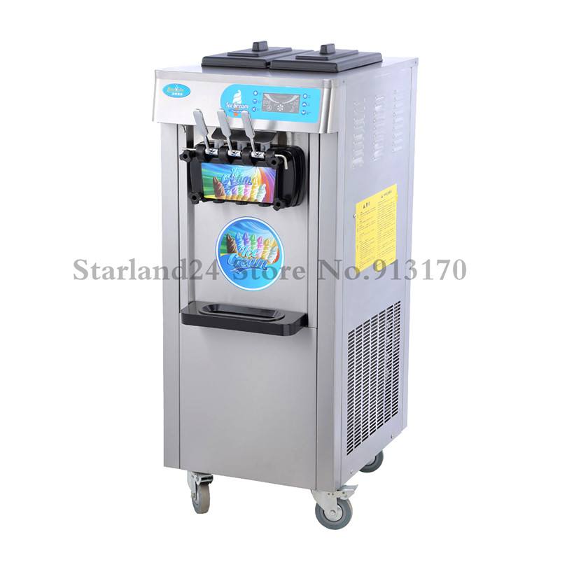 Floor Stand Soft Ice Cream Machine Commercial Ice Cream Maker R22/R410a 20L Capacity 220V LED Display
