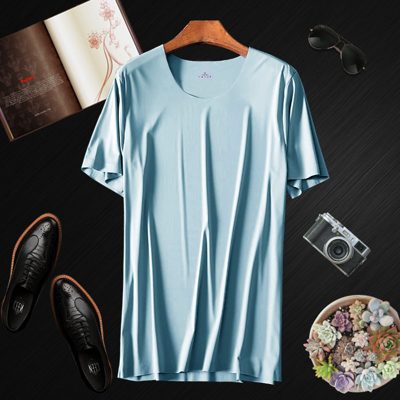 Summer Adult Men O-neck Ice Silk Seamless   T     shirt   Short Sleeve Solid Color Elastic Plus Size Top Tees   T  -  shirt