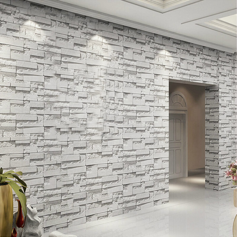 3D Embossed Vinyl Wall Paper Rolls Home Decor Papel De Parede 3D Living Room Stone Brick Wall PVC Waterproof Wallpaper For Walls купить