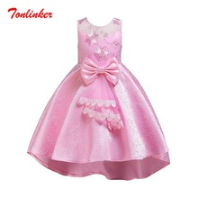 Summer Girls Embroidery Flower Princess Trailing Dress Children Tutu Bow-Knot Dresses Girls Princess Wedding Gown