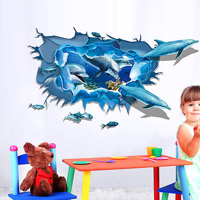 2016 Blue Ocean Pvc Wallpaper Living Room Bedroom Wave Dolphin Bathroom Floor Painting Self Adhesive Decor 236
