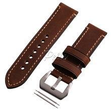 Pelle 20mm  22mm 24mm Genuine Leather Brown Wristwatch Watch Strap Band Watchband with Silvery Buckle Black Buckle цена