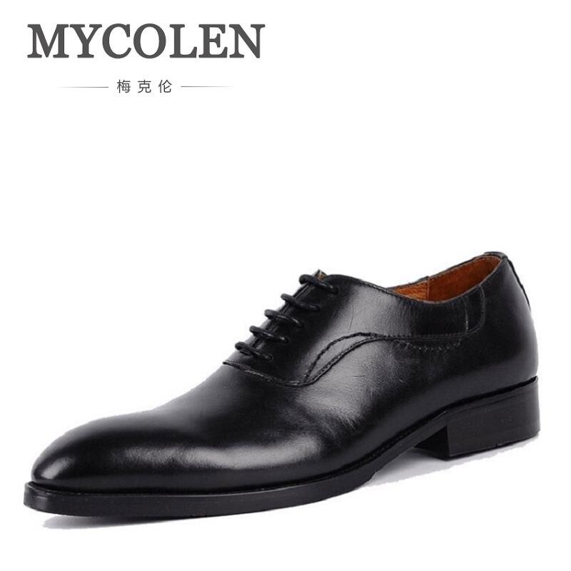 MYCOLEN Brand Fashion Men Dress Shoes Luxury business Oxford Shoes For Men Black Leisure Men Oxfords chaussure homme cuir мои первые друзья животные