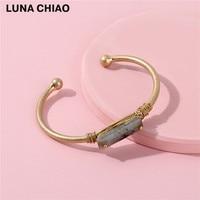 Worn Gold Color Brass Bangle With Natural Semi Precious Stone Jeweled Bangle