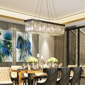 Image 3 - Lustre rectangulaire suspendu en cristal, design moderne, éclairage décoratif de plafond, idéal pour un salon ou un Bar, LED