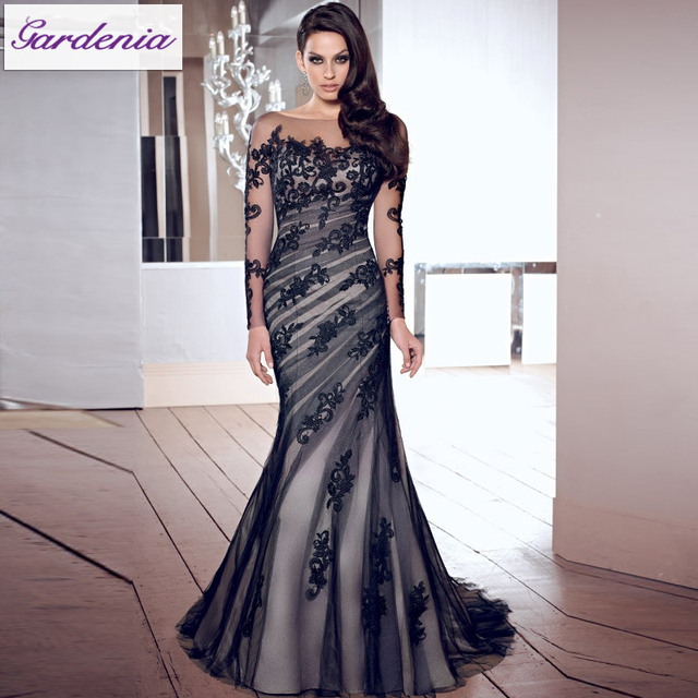 Us 139 0 Designers Black Mermaid Backless Ladies Long Evening Party Wear Gown Long Sleeve Lace Evening Gown In India As005 In Evening Dresses From