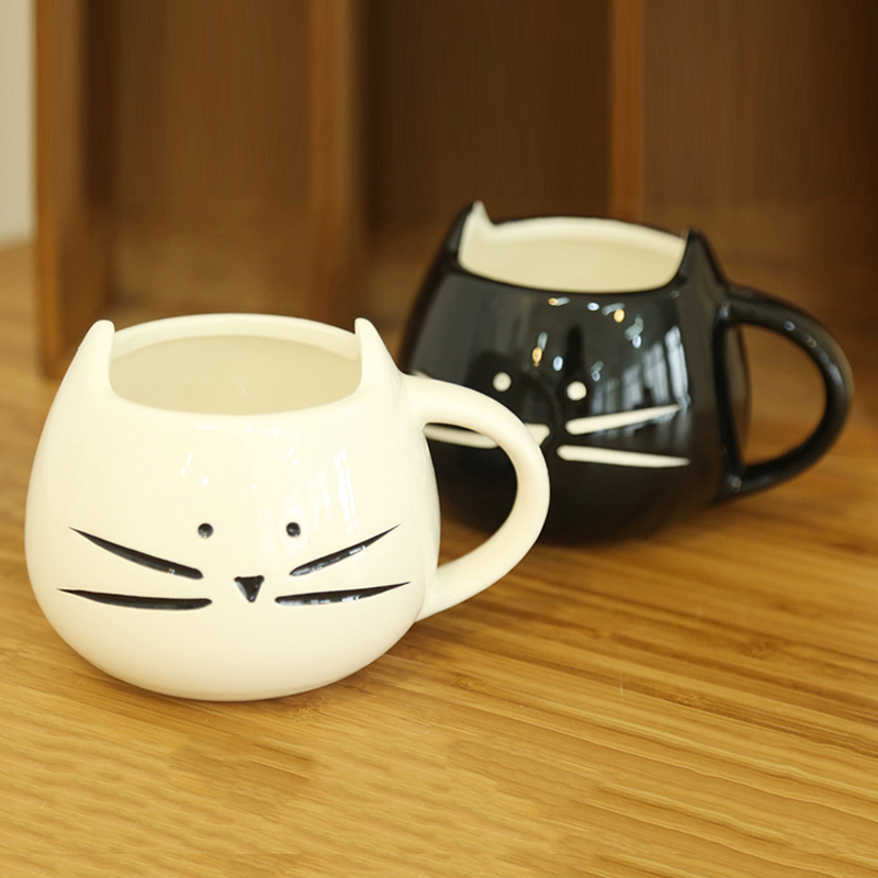 Creative Cute Coffee Mugs And Cups Black And White Cat Mug Ceramic Milk Coffee Cup For