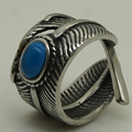 natural Turquoise inlayed feather 316L Stainless Steel Biker Ring