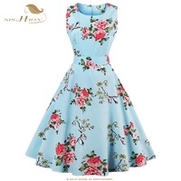 Tunic Vestidos S 4XL Plus Size Women Dress Summer Floral Print Retro Casual Party Robe Pinup