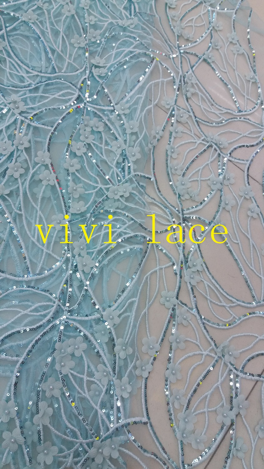 KK002 blue gold sequin pearl beads french embroidery tulle mesh lace fabric  for stage   8c104de16ee9