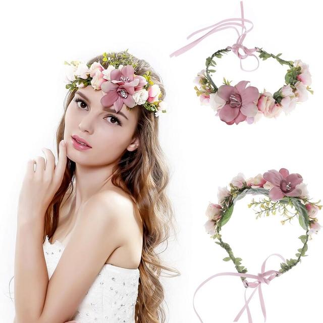 Women Wedding Flower Wreath bridal headband Kids Party Flower Crown