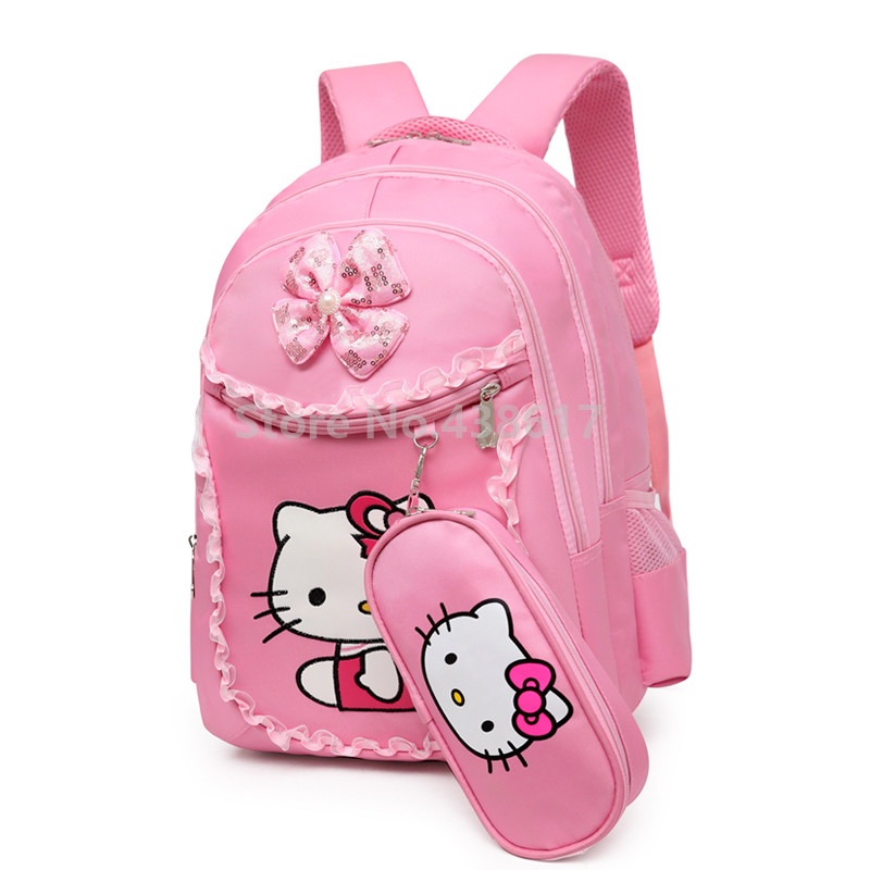 Pink Hello Kitty Girls Backpack School Bag With Lunch and Pencil Case Set 3  for Children Primary School Book Bags-in School Bags from Luggage   Bags on  ... 803b10ef577af