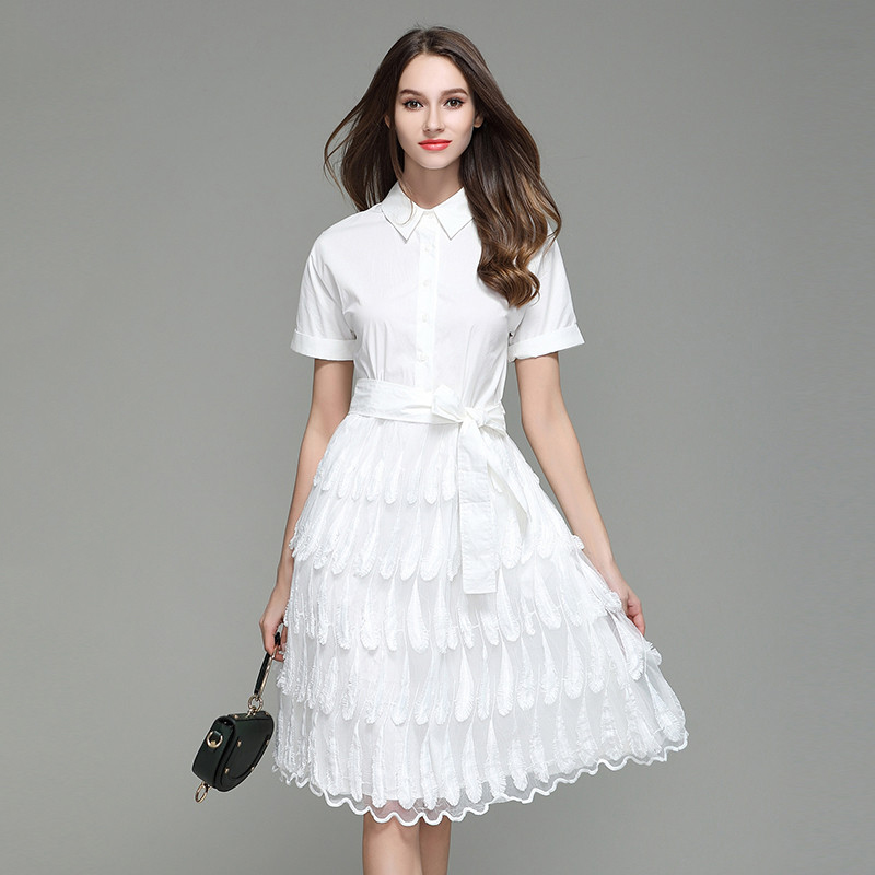 2017 Summer Autumn White Lace Feather Embroidery Shirt Princess Dresses Short Sleeve Elegant Party Knee Length