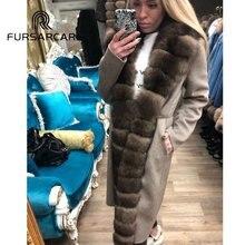 FURSARCAR Women Real Fur Coat Top Quality Natural Woolen Skin Warm Fur Coat With Long Fox Fur Collar New Style Woolen Fur Coat