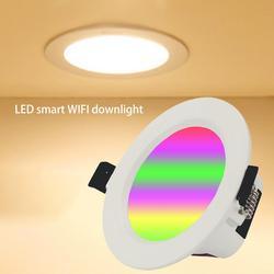 AC85-265V 7W RGBW LED Downlight Smart WiFi APP รีโมทคอนโทรลลงใช้งานร่วมกับ Tmall Genie Alexa Amazon Google บ้าน