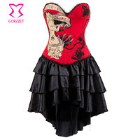 Waist trainer corsets Red Gothic corsets Dress Steampunk Dress women hot shapers body intimates Victorian Burlesque Costumes