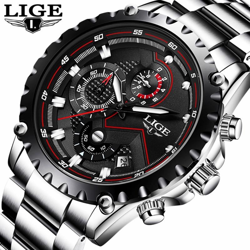 LIGE Luxury Brand Watches Men Fashion Sport Military Quartz Watch Men Full Steel Business Waterproof Clock Man Relogio Masculino