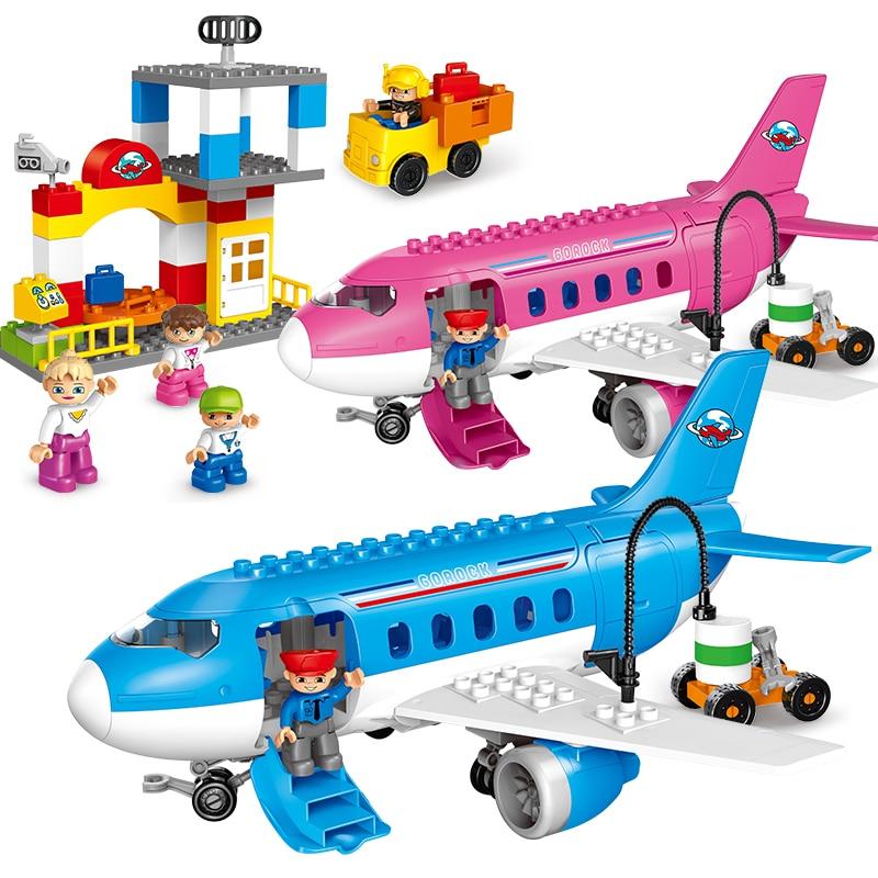 GOROCK duploé 82 piezas grandes ladrillos niña rosa aeropuerto gran avión conjunto bloques de construcción juguete bebé regalo Compatible con 5595-in Bloques from Juguetes y pasatiempos    1