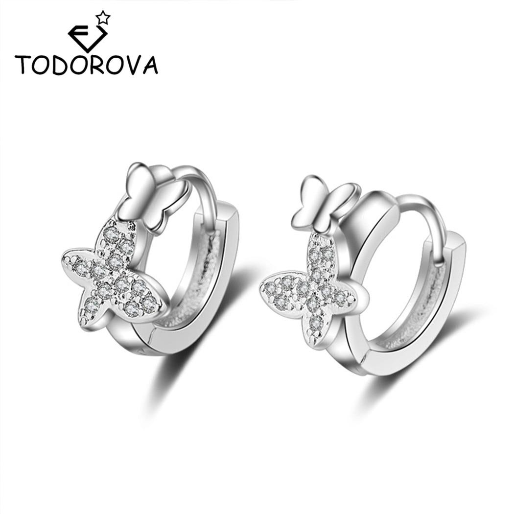 Todorova  Double Butterfly Zircon Small Hoop Earrings for Baby Girls Cute Crystal Animal Loop Huggies Earring Jewelry earrings