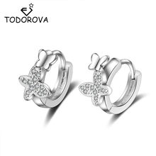 Todorova Double Butterfly Zircon Small Hoop Earrings for Baby Girls Cute Crystal Animal Loop Huggies Earring Jewelry(China)