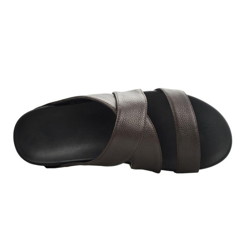 Top qualité hommes plate-forme en cuir véritable pantoufles d'été plage tongs Sandalias hauteur augmentant creux intérieur extérieur sandales - 4