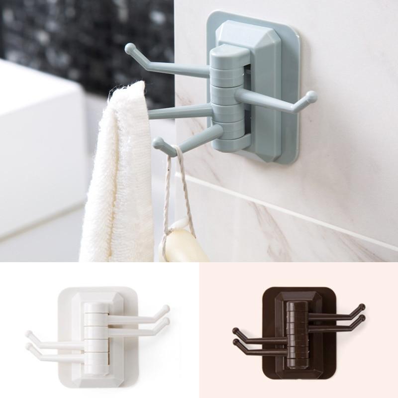 Storage Holders Racks Strong Adhesive Wash Cloth Clip Rotatable Home Improvement Bath Room Kitchen Supplies Storage Towel Rack