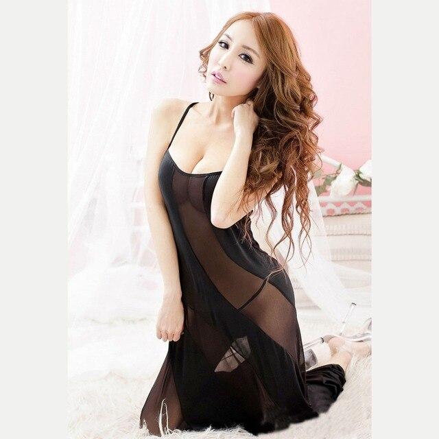 Nightgown Women Sexy Erotic Lingerie Dress Sleepwear Plus Size 4XL 5XL 6XL Strappy Mesh Long Night Dress Nightwear Sleepshirts
