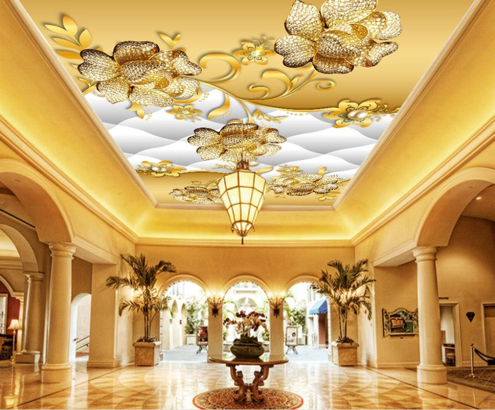 Luxurious Ceiling Wallpaper 3d Customized Jewelry 3D Ceiling Mural Wall papers Home Decor European Mural customized 3d ceiling wallpaper mural blue sky and white clouds bedroom 3d ceiling living room wall papers home decor 3d modern