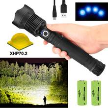 powerful led flashlight 70000 lm xhp70.2 waterproof flashlight 26650 usb torch xhp70 xhp50 lantern 18650 hunting lamp hand light(China)