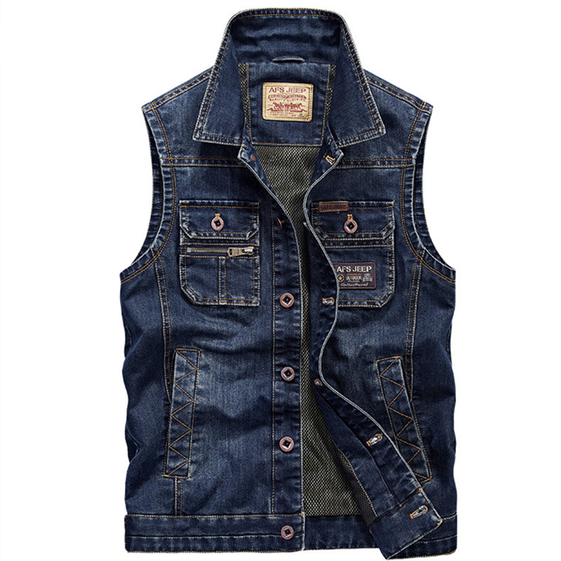 2016 denim vest men jeans casual vintage jacket waistcoat