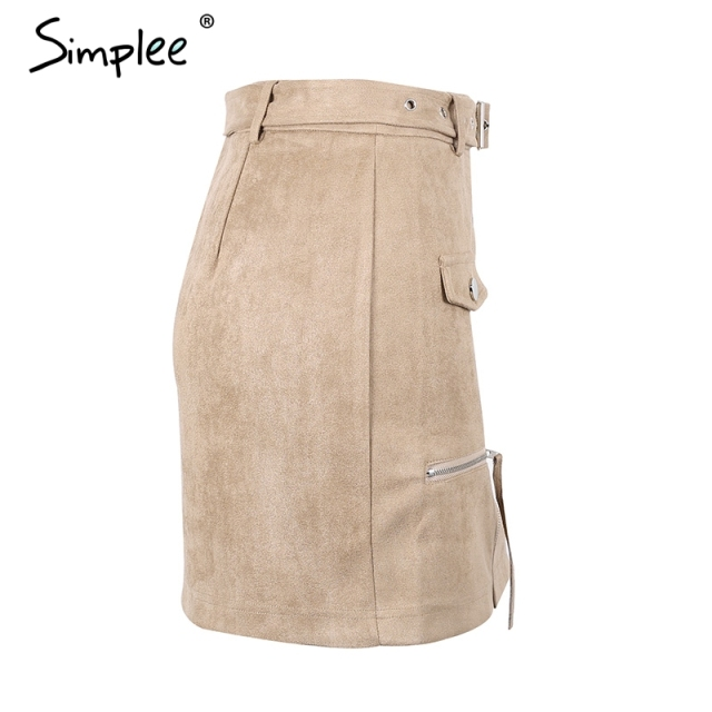 Simplee Suede zipper belt mini skirt women Streetwear motorcycle pencil skirt 2017 fashion cool autumn short skirt female