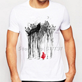 Newest Fashion Into the Woods Wolf Design T-Shirt Summer Streetwear Printed T Shirt Funny Mens Hipster Tee Shirt Tops Clothes