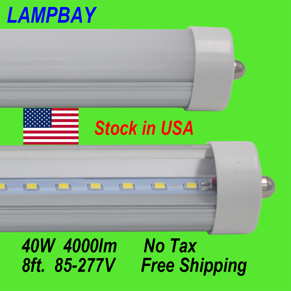 (25 Pack)Free Shipping LED Tube Lights 8ft. F96 40W FA8 single pin Retrofit bulb work into exist fluorescent fixture Stock in US