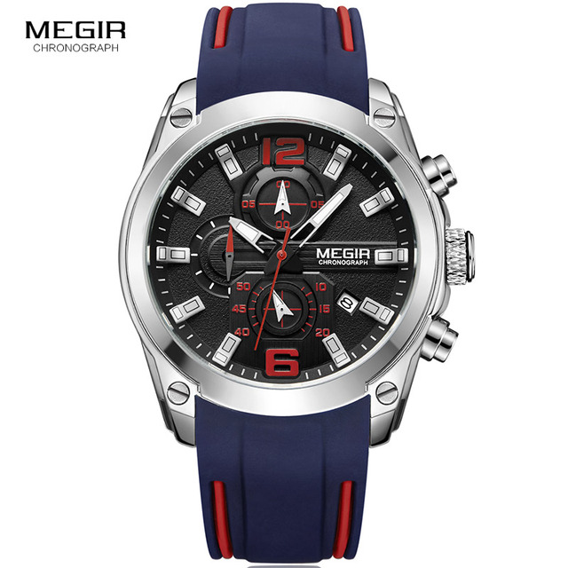 Megir Men's Chronograph Analog Quartz Watch with Date, Luminous Hands, Waterproof Silicone Rubber Strap Wristswatch for Man 2