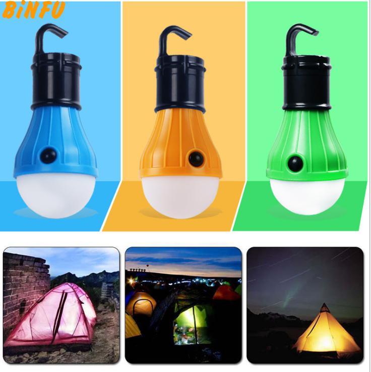 Mini Portable Lantern Tent Light LED Bulb Emergency Lamp Waterproof Hanging Hook Flashlight For Camping 4 Colors Use Battery