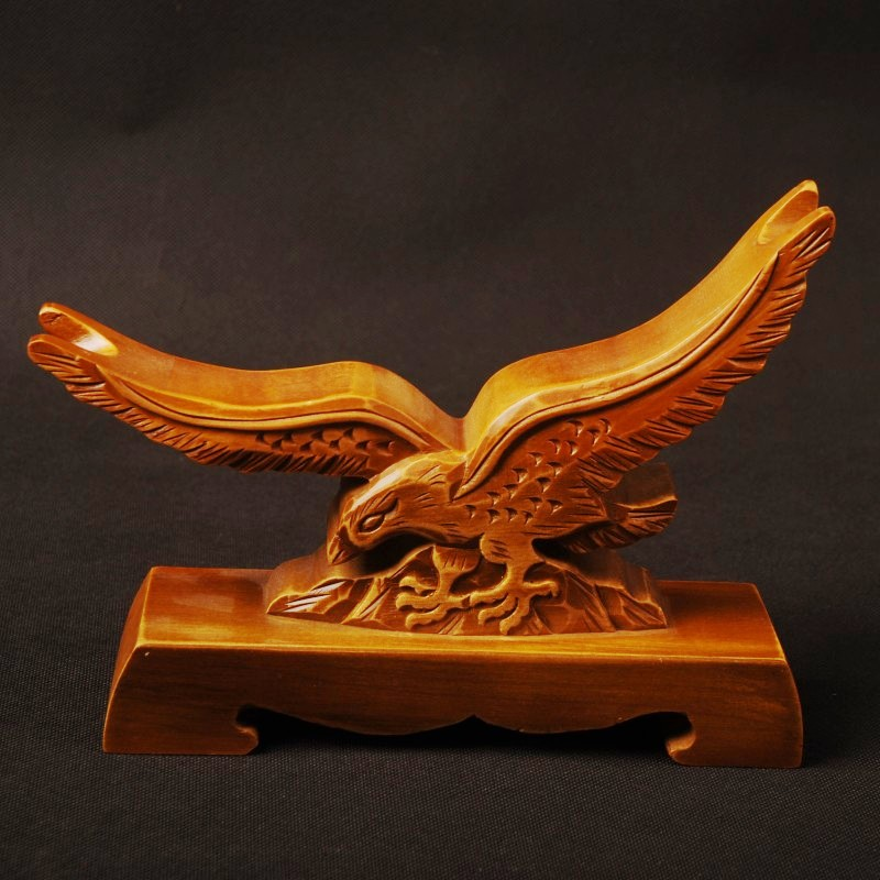 Delicate Wood Craft Hawk Pattern Carved Wood Stand Holder Rack Display Japanese Samurai Sword Exquisite Collection