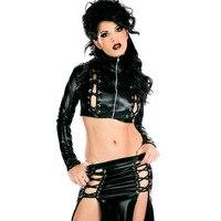 2016 Sexy Club Dress Set 2 Pcs Wet Look Dress Black Color Fashion High Quality Ladies