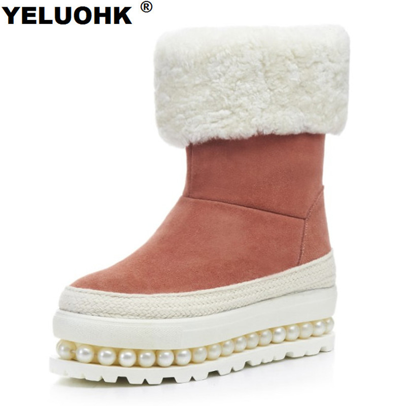 Brand New Pearl Shoes Woman Winter Platform Warm Snow Boots Women Shoes Plush Ankle Boots Female Winter Shoes High Quality