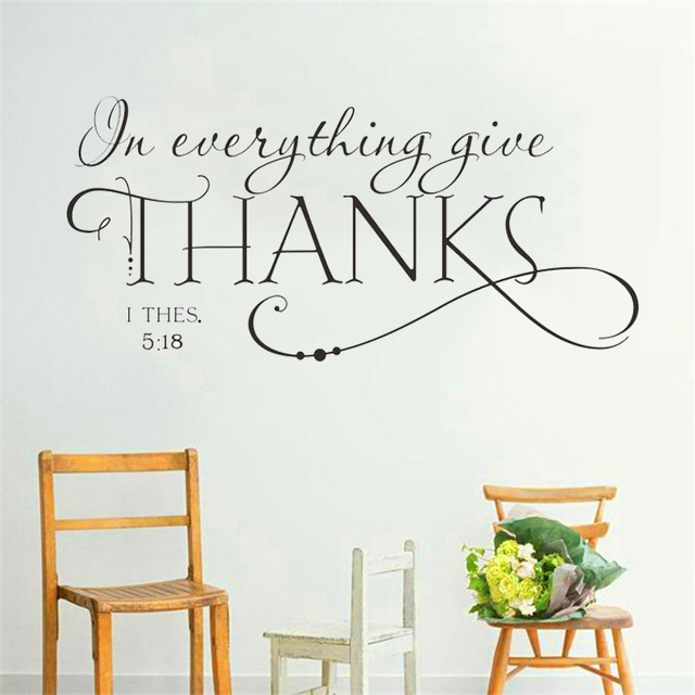 Family Bless Everything Give Thanks Bible Quote Wall Decals Classic Christian  Wall Stickers For Kids Rooms