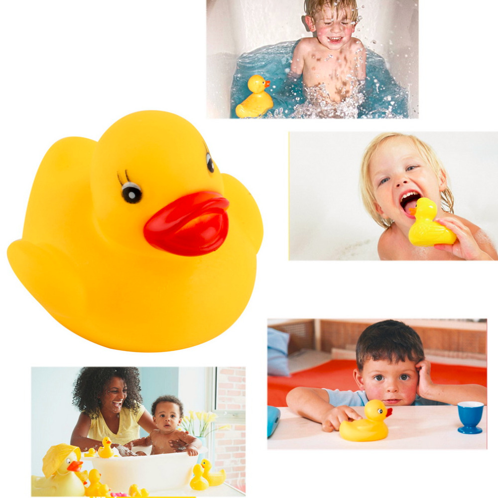 Hot 5pcs Baby Bath Toys Soft Floating Rubber Ducks Toy Children Squeaky Ducky Game Toys In The Bath Tub Pool For Kids