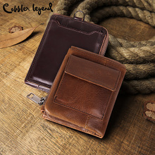 Cobbler Legend Genuine Cow Leather Men Vintage Wallet with Coin Purse Small Zipper Pocket Male Card Holder Short Luxury Brand