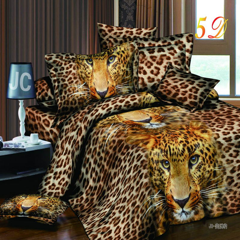 Leopard Print Themed Bedroom: New 3D Print Wolf Leopard Tiger Lion Panda Flower Bedding