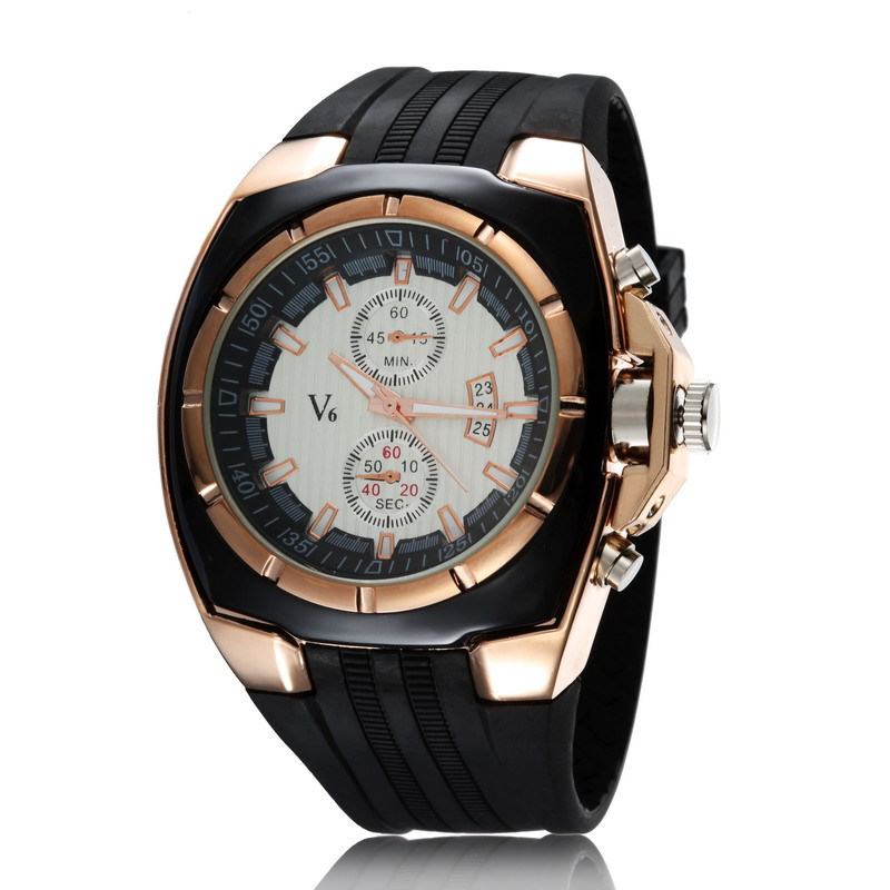 LUHAN Style Men Business Watch Special Silicone Strap Quartz Wristwatch 3 Dials  Large Round Dial Watch Cool Gift   LL large dial four movements men cool luxury analog leather wristwatch four dials display sport watch new
