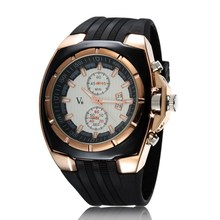 Estilo de Los Hombres de Negocios Reloj de Cuarzo Correa de Silicona Especial LUHAN Reloj 3 Diales Reloj Grande Del Dial Redondo Regalo Fresco LL