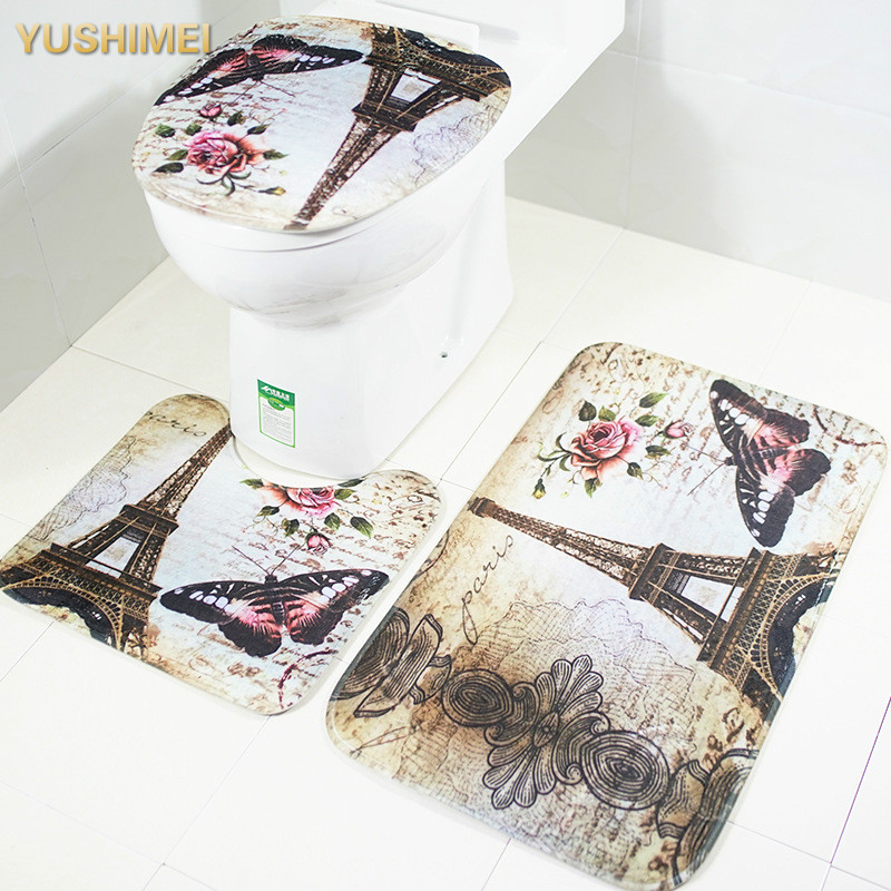 Buy 2 3pcs anti slip mat bathroom carpet for Fleece tapete