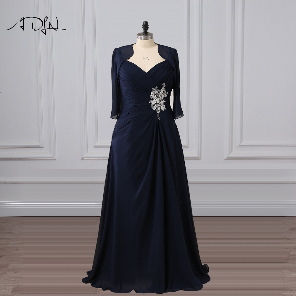 Adln Navy Blue Mother Of The Bride Dresses With Jacket 3 4